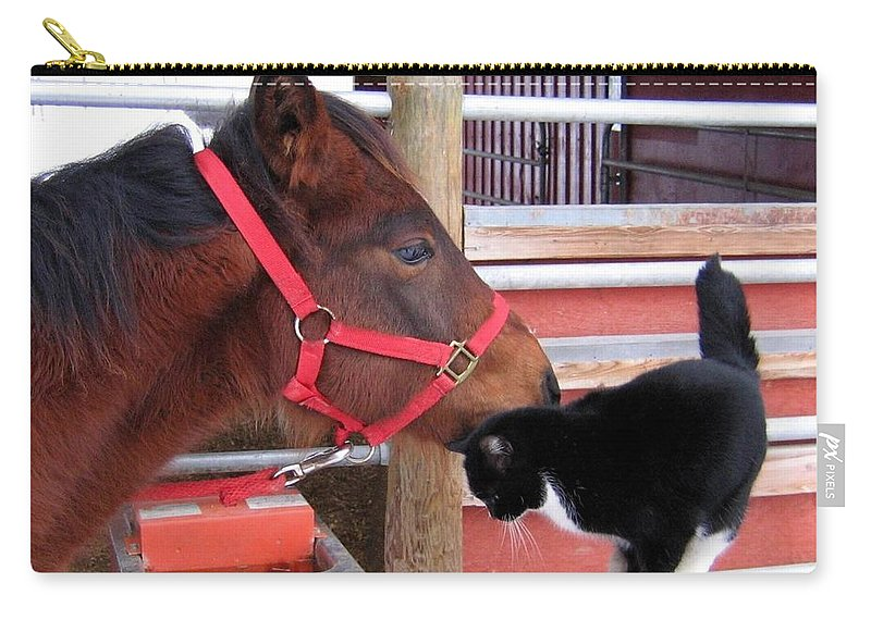 Horse Carry-all Pouch featuring the photograph Barn Buddies by Will Borden