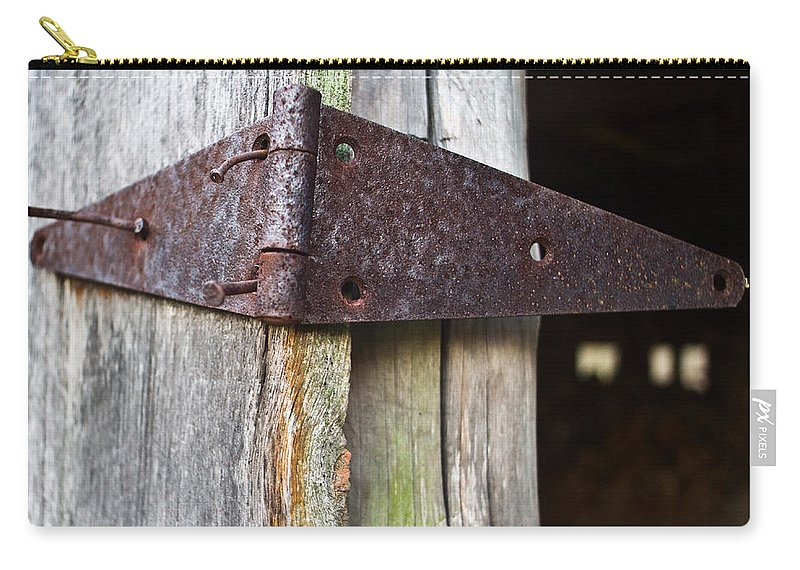 Hinge Carry-all Pouch featuring the photograph Barn Hinge 1 by Douglas Barnett