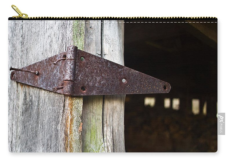 Hinge Carry-all Pouch featuring the photograph Barn Hinge 2 by Douglas Barnett