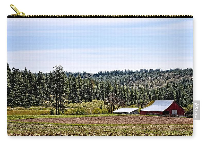 Barn Carry-all Pouch featuring the photograph Barn In The Trees by Image Takers Photography LLC