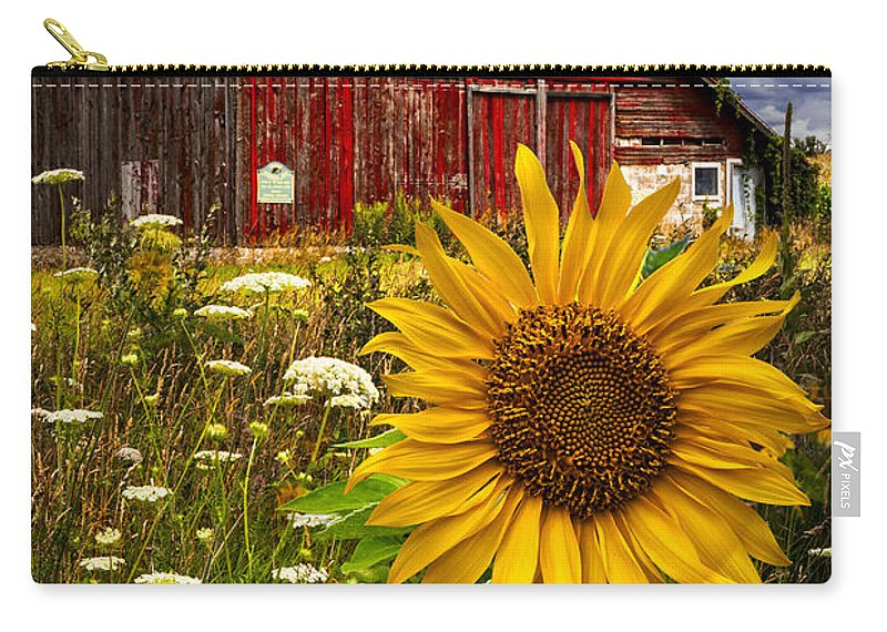Barn Carry-all Pouch featuring the photograph Barn Meadow Flowers by Debra and Dave Vanderlaan