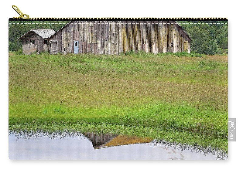 San Juan Island Carry-all Pouch featuring the photograph Barn Reflection by Art Block Collections