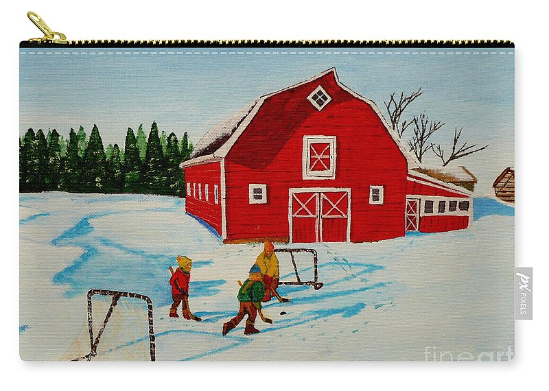 Hockey Carry-all Pouch featuring the painting Barn Yard Hockey by Anthony Dunphy
