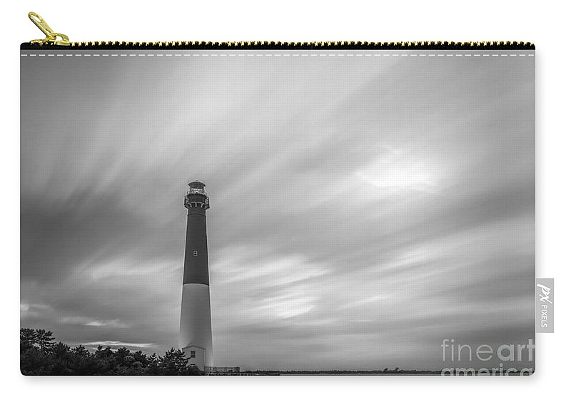 Black And White Carry-all Pouch featuring the photograph Barnegat Lighthouse Le Sunset Bw by Michael Ver Sprill