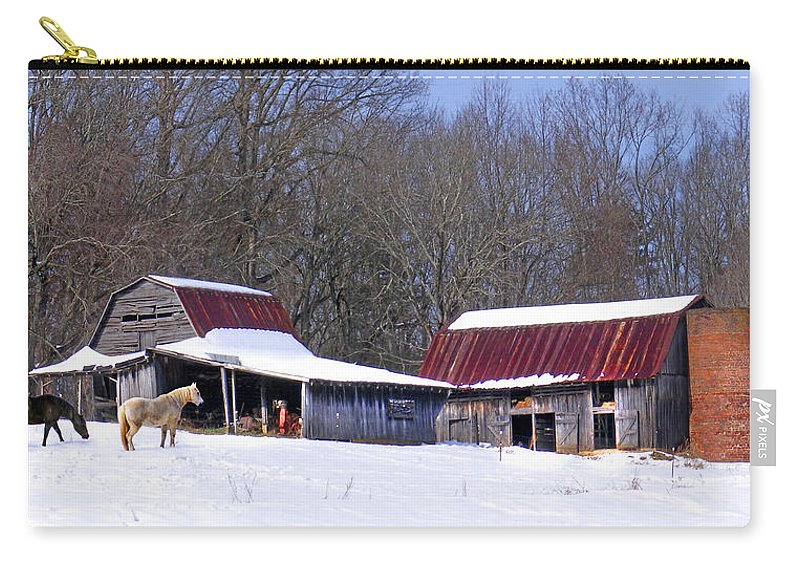Barns Carry-all Pouch featuring the photograph Barns And Horses In Winter by Duane McCullough