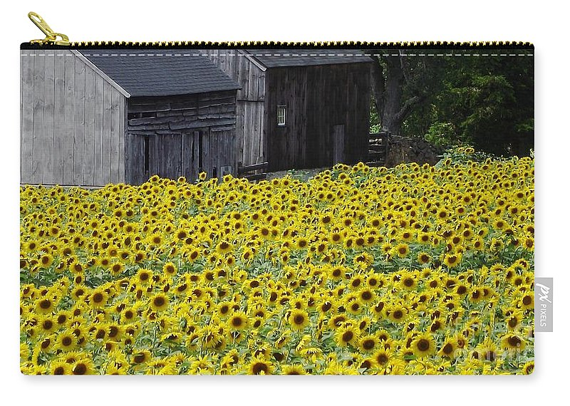 Field Of Sunflowers Carry-all Pouch featuring the photograph Barns And Sunflowers by Michelle Welles