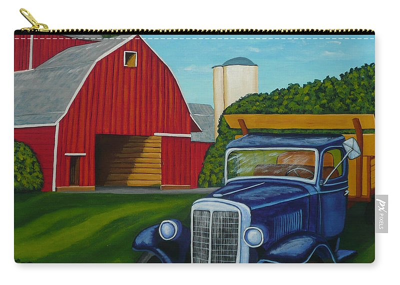 Farm Carry-all Pouch featuring the painting Barnyard Truck by Anthony Dunphy