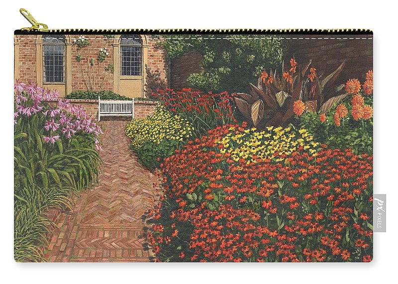 Landscape Carry-all Pouch featuring the painting Barrington Court Gardens Somerset by Richard Harpum