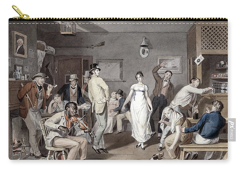 1820 Carry-all Pouch featuring the painting Barroom Dancing, C1820 by Granger