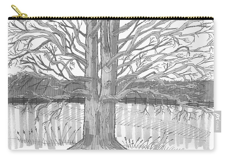 Landscape Carry-all Pouch featuring the drawing Barrytown Tree by Richard Wambach
