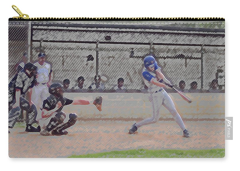 Sports Carry-all Pouch featuring the photograph Baseball Batter Contact Digital Art by Thomas Woolworth