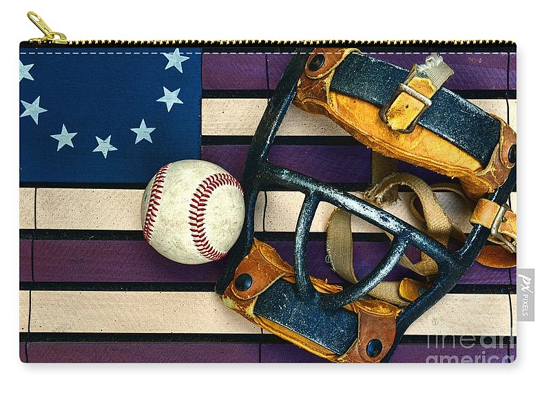 Paul Ward Carry-all Pouch featuring the photograph Baseball Catchers Mask Vintage On American Flag by Paul Ward