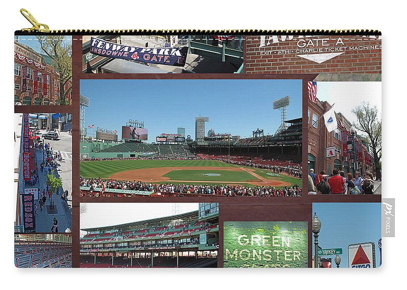 Fenway Carry-all Pouch featuring the photograph Baseball Collage by Barbara McDevitt