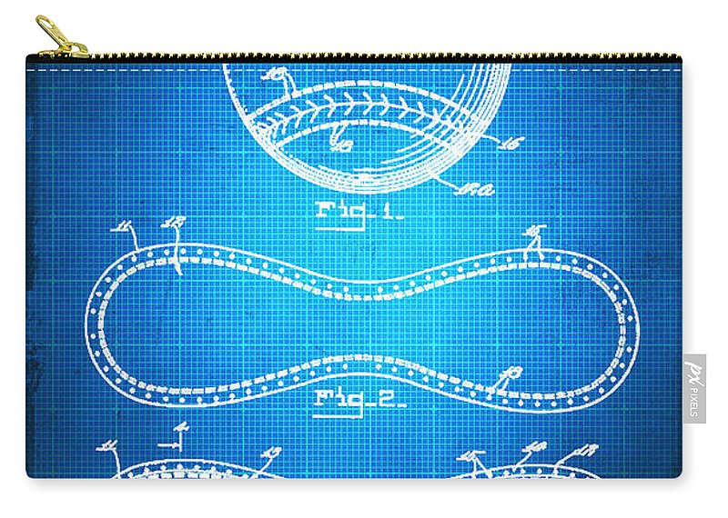 Baseball Carry-all Pouch featuring the mixed media Baseball Patent Blueprint Drawing by Tony Rubino