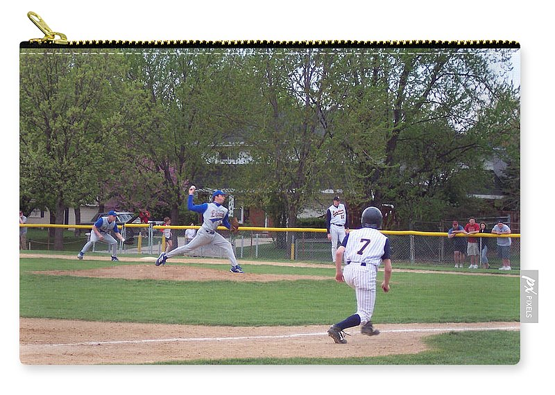 Sports Carry-all Pouch featuring the photograph Baseball Pitcher The Delivery by Thomas Woolworth