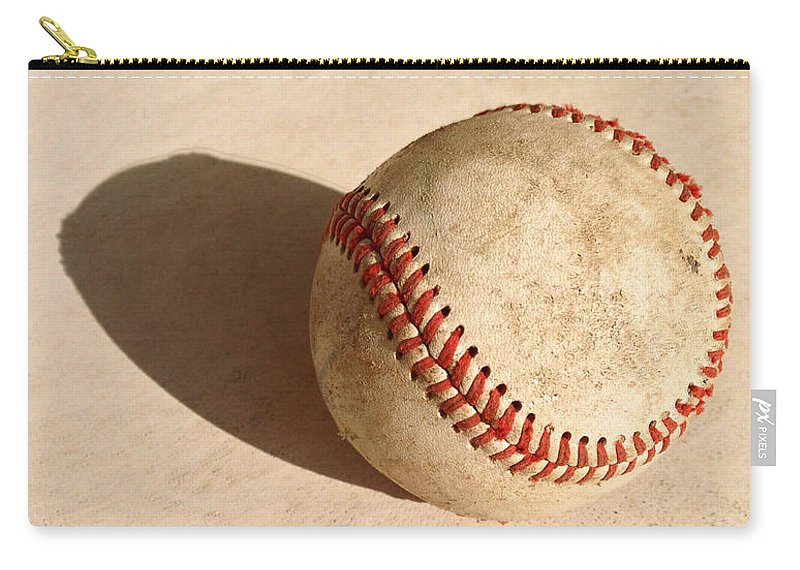 Ball Carry-all Pouch featuring the photograph Baseball With Shadow by Art Block Collections