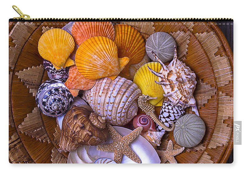 Sea Shells Starfish Carry-all Pouch featuring the photograph Basket Full Of Seashells by Garry Gay