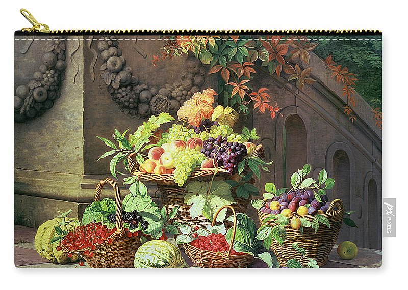 Still Life Carry-all Pouch featuring the painting Baskets Of Summer Fruits by William Hammer