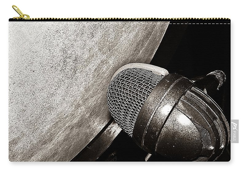 Music Carry-all Pouch featuring the photograph Bass Drum And Mic by Chris Berry