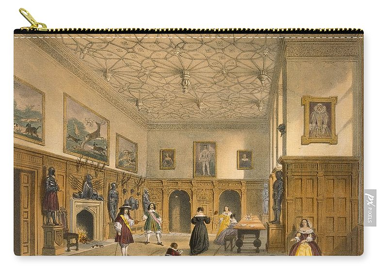Interior Carry-all Pouch featuring the drawing Bat Game In The Grand Hall, Parham by Joseph Nash