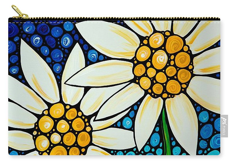 Daisy Carry-all Pouch featuring the painting Bathing Beauties - Daisy Art By Sharon Cummings by Sharon Cummings