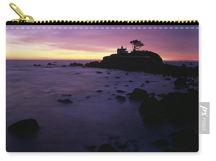 Battery Point Lighthouse Carry-all Pouch featuring the photograph Battery Point Lighthouse At Sunset by Jim Corwin