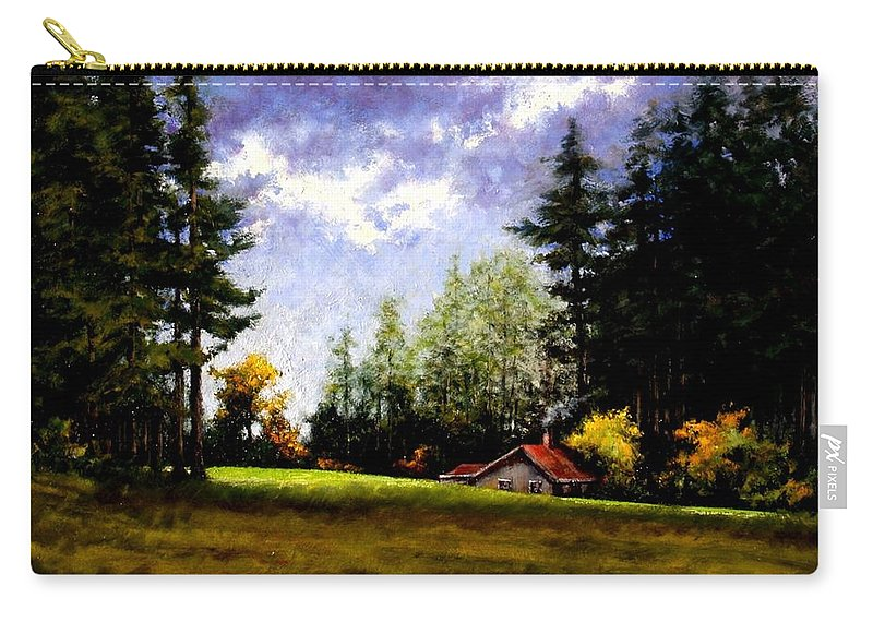 Landscape Carry-all Pouch featuring the painting Battle Ground Park by Jim Gola