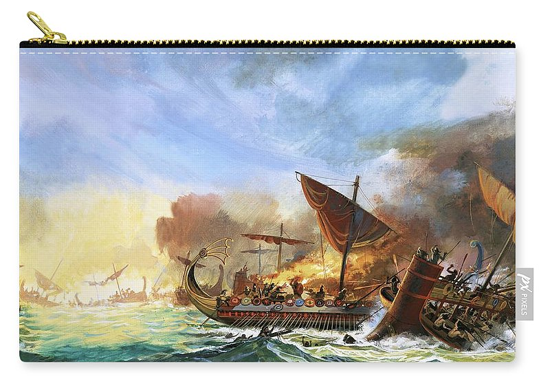 Persia Carry-all Pouch featuring the painting Battle Of Salamis by Andrew Howat