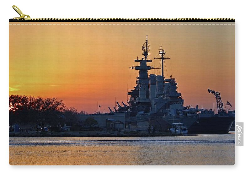 Sunset Carry-all Pouch featuring the photograph Battleship Sunset by Cynthia Guinn