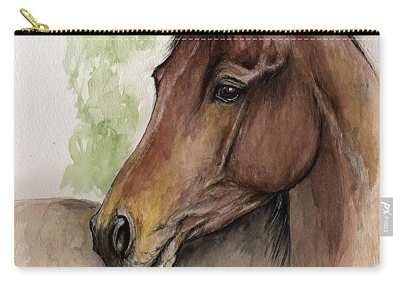 Horse Carry-all Pouch featuring the painting Bay Horse Portrait Watercolor Painting 02 2013 A by Angel Ciesniarska