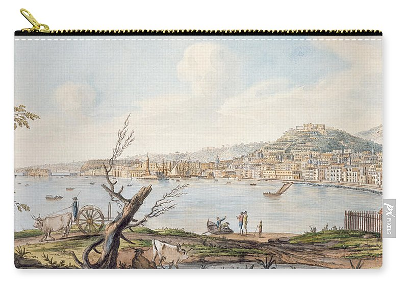 Witnessed Several Volcanic Eruptions Carry-all Pouch featuring the drawing Bay Of Naples From Sea Shore by Pietro Fabris