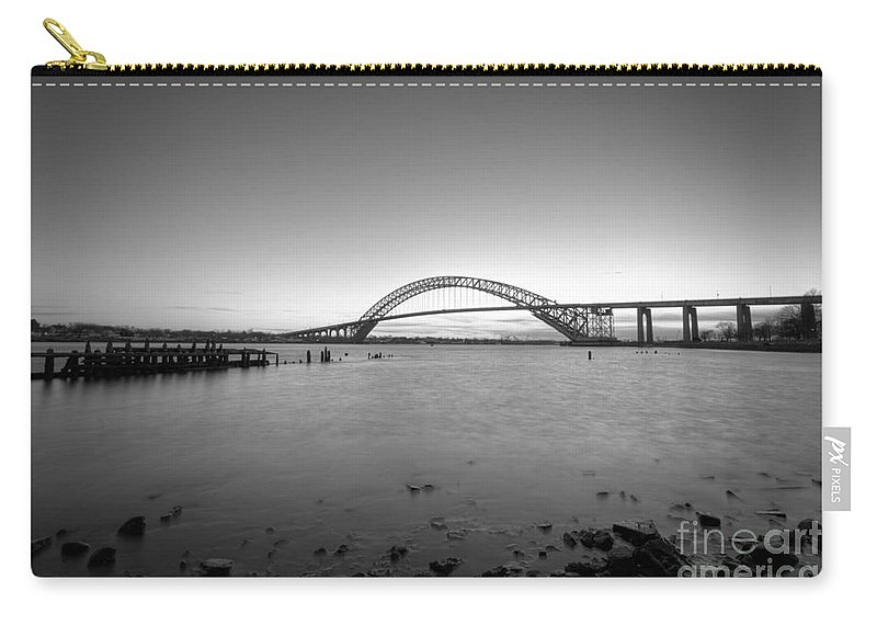 Sunset Carry-all Pouch featuring the photograph Bayonne Bridge Long Exposure Bw by Michael Ver Sprill