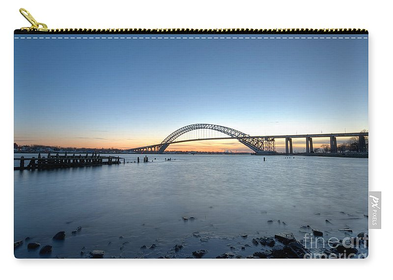 Sunset Carry-all Pouch featuring the photograph Bayonne Bridge Longe Exposure Sunset by Michael Ver Sprill