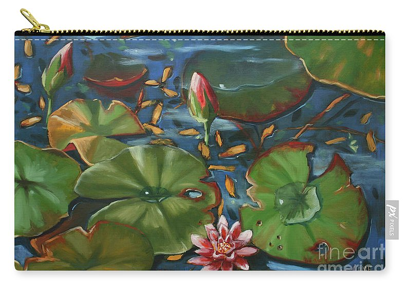 Water Lilies Carry-all Pouch featuring the painting Lily Pond II by CB Hume