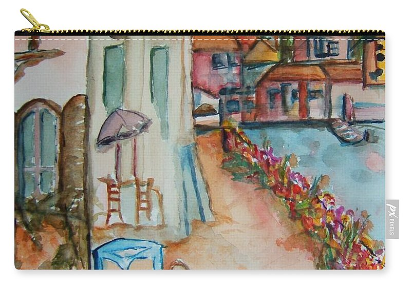 Bayside Carry-all Pouch featuring the painting Bayside Bistro by Elaine Duras