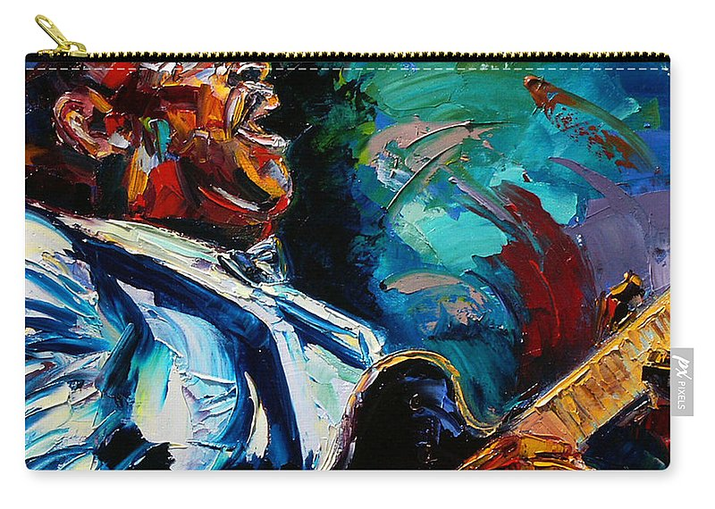Musicians Carry-all Pouch featuring the painting Bb King by Debra Hurd