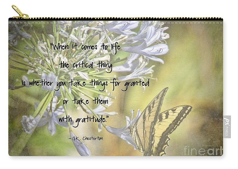Gratitude Carry-all Pouch featuring the photograph Be Grateful by Peggy Hughes