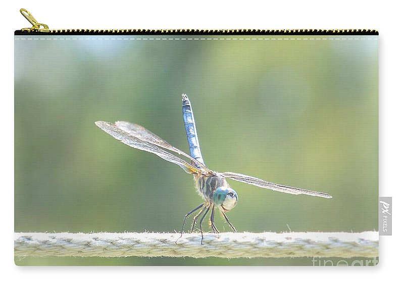Macro Carry-all Pouch featuring the photograph Smiling Dragonfly by Eunice Miller