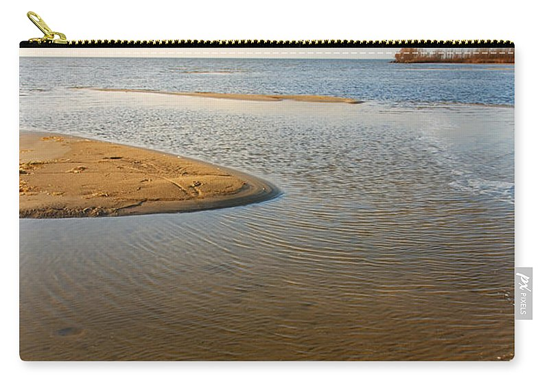 Abstract Carry-all Pouch featuring the photograph Beach And Rippled Water At The Wadden Sea. by Jan Brons