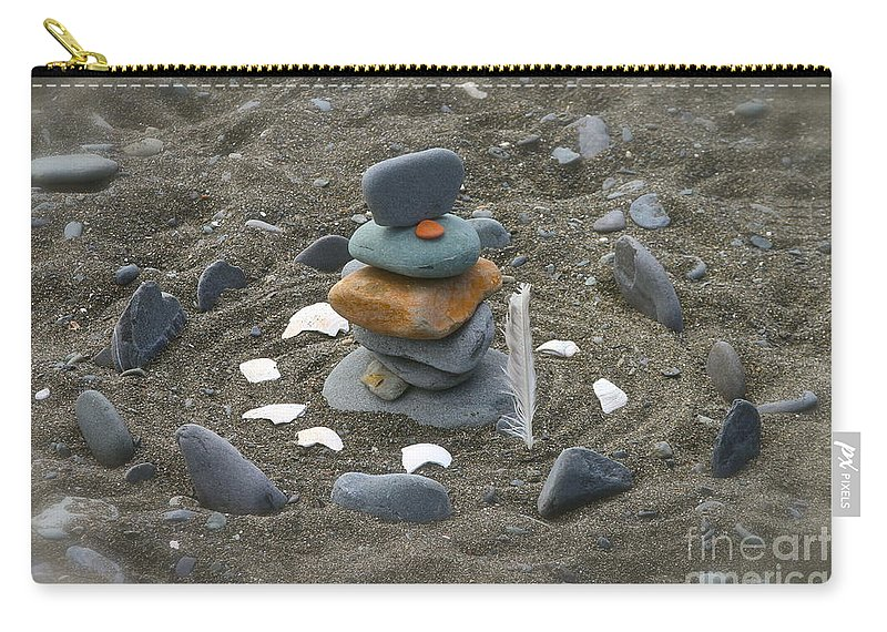 Rock Carry-all Pouch featuring the photograph Beach Art by Rick Monyahan