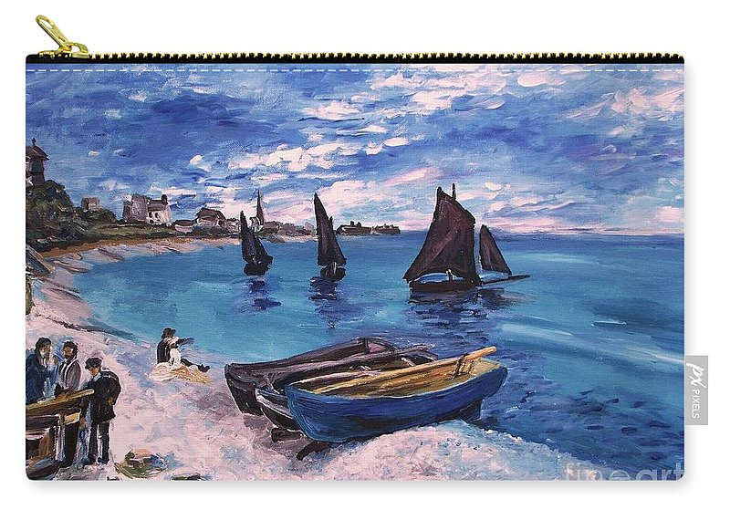 Monet Carry-all Pouch featuring the painting Beach At Sainte Adresse Monet by Eric Schiabor