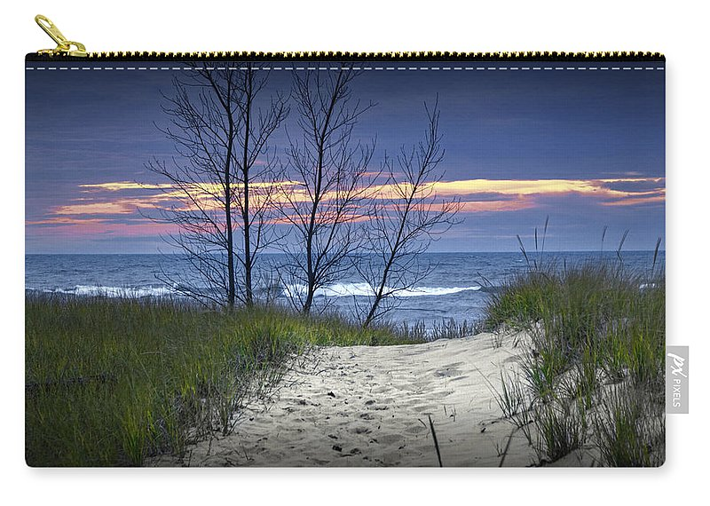 Art Carry-all Pouch featuring the photograph Beach At Sunset By Holland Michigan No 0241 by Randall Nyhof