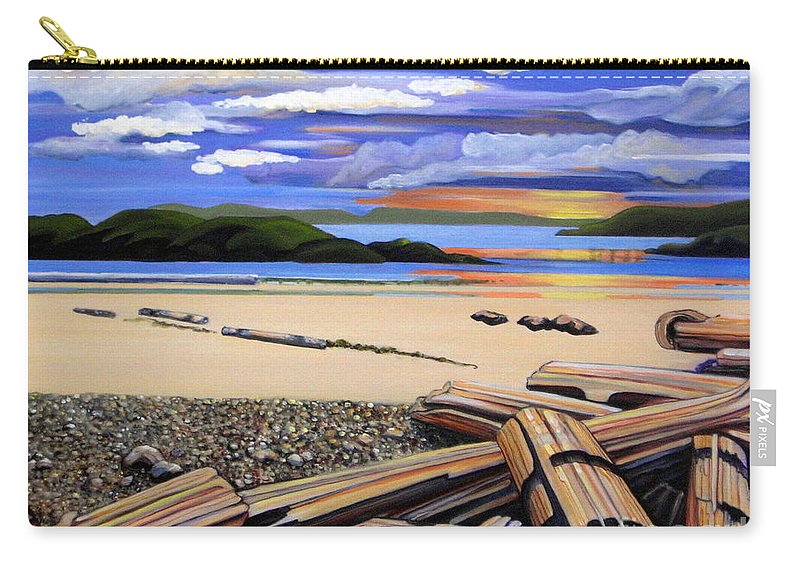 Sunset Carry-all Pouch featuring the painting Beach At Sunset by Elissa Anthony
