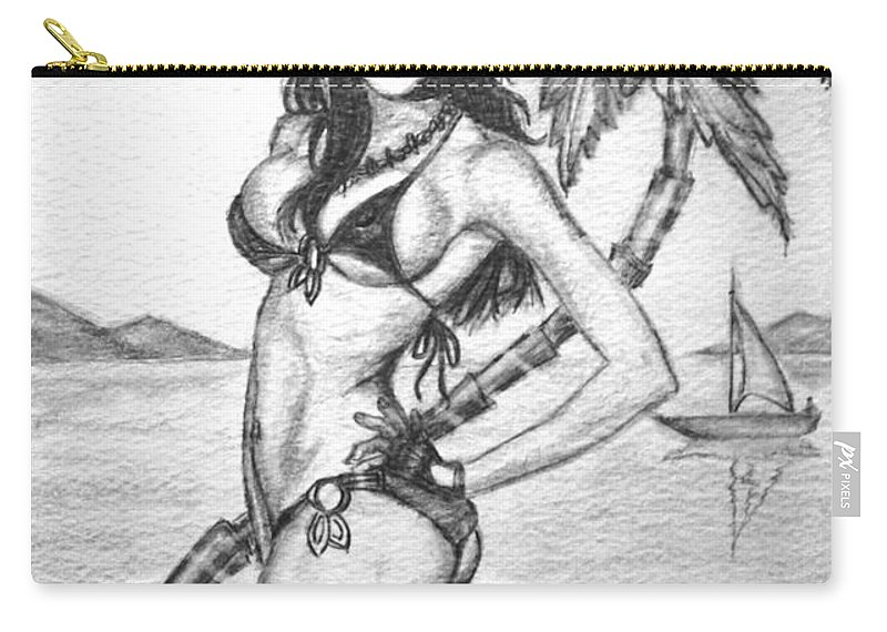 Pinup Art Carry-all Pouch featuring the drawing Beach Babe Model by Alban Dizdari