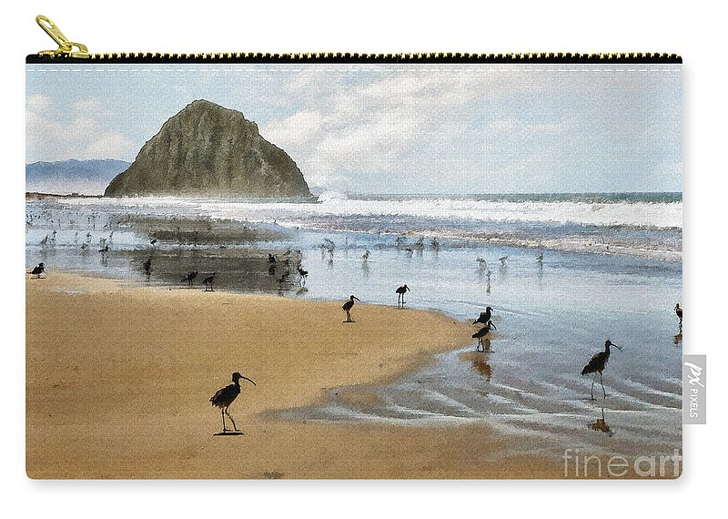Beach Carry-all Pouch featuring the photograph Beach Birds Impasto by Sharon Foster