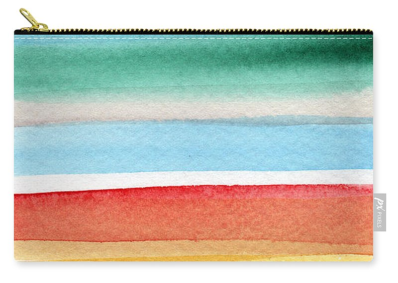 Beach Landscape Painting Carry-all Pouch featuring the painting Beach Blanket- colorful abstract painting by Linda Woods