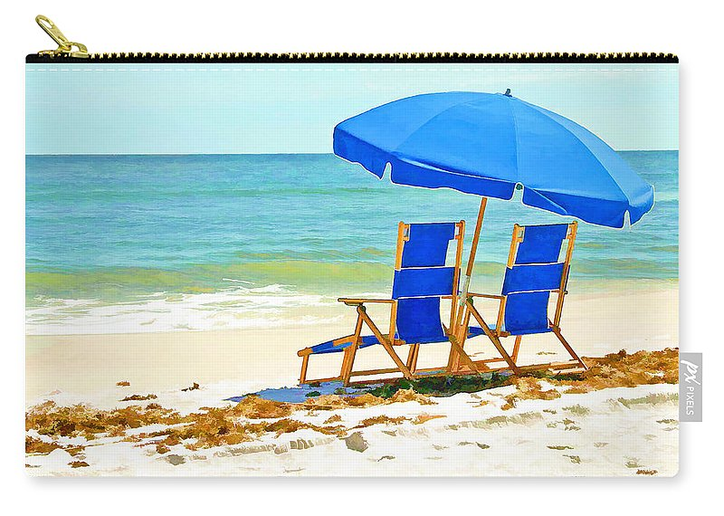 Ocean Carry-all Pouch featuring the painting Beach Chairs And Umbrella by Elaine Plesser