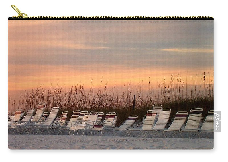 Siesta Key Carry-all Pouch featuring the photograph Beach Chairs At Dusk by Catie Canetti