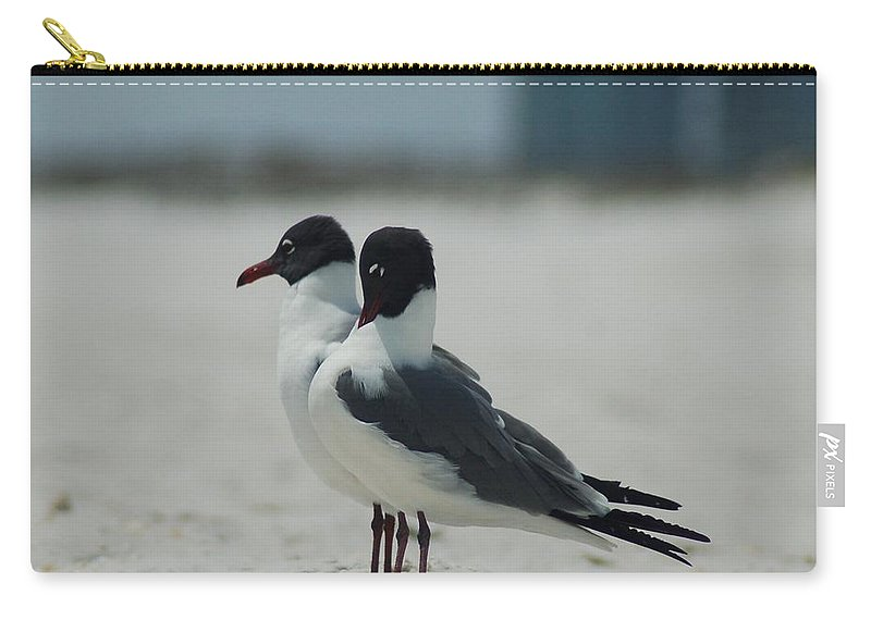 Bird Carry-all Pouch featuring the photograph Beach Couple by Lucy Bounds