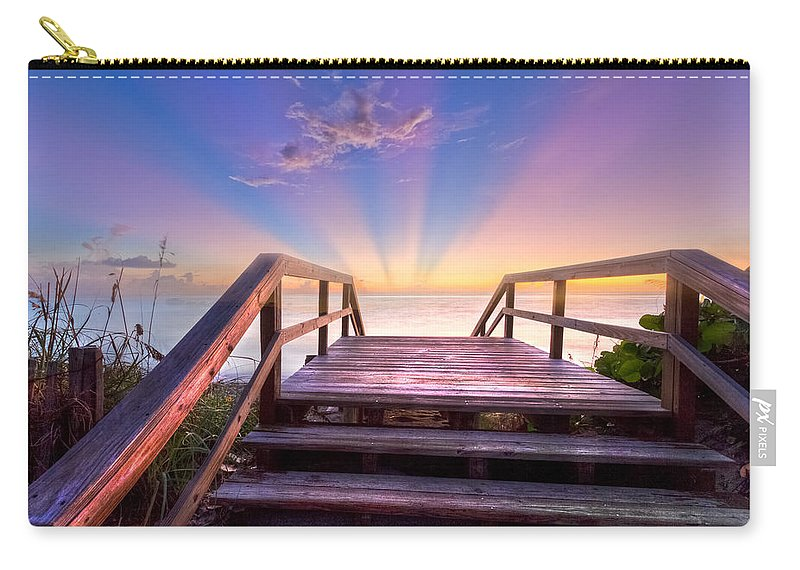 Blowing Carry-all Pouch featuring the photograph Beach Dreams by Debra and Dave Vanderlaan